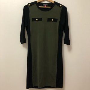 Vince Camuto Ribbed Black and Green Bodycon Dress